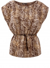 Блузка принтованная из вискозы oodji #SECTION_NAME# (бежевый), 11400345-2/24681/3933A