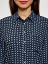 Блузка принтованная из шифона oodji #SECTION_NAME# (синий), 11400394-5/36215/7920G - вид 4