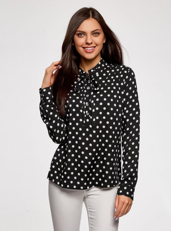 Блузка вискозная с завязками на воротнике oodji #SECTION_NAME# (черный), 11411123/26346/2912D