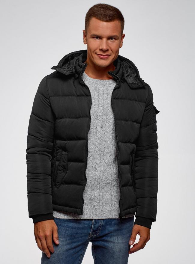 Куртка на молнии с капюшоном oodji для мужчины (черный), 1L112030M/48602N/2900N