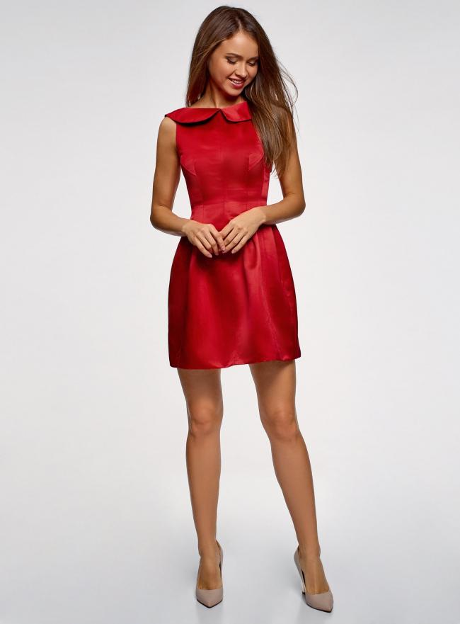Платье из атласной ткани oodji для женщины (красный), 11902149/24529/4500N