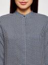 Блузка из вискозы принтованная с воротником-стойкой oodji для женщины (синий), 21411063-2/26346/7533G