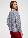 Блузка прямого силуэта с отложным воротником oodji #SECTION_NAME# (синий), 11411181/43414/7050F - вид 3