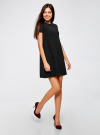 Платье А-образного силуэта в рубчик oodji #SECTION_NAME# (черный), 14000157/45997/2900N - вид 6