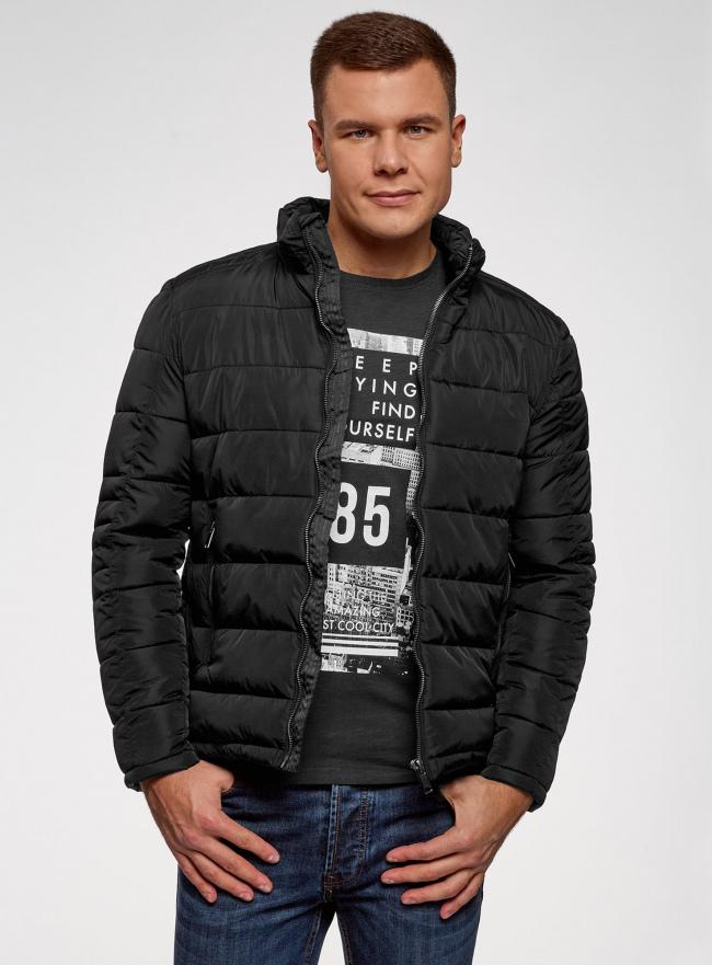 Куртка стеганая с воротником-стойкой oodji #SECTION_NAME# (черный), 1B111005M/48961N/2900N