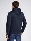 Толстовка на молнии с капюшоном oodji для мужчины (синий), 5B115003M/44119N/7900N - вид 3