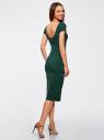 Платье миди с вырезом на спине oodji #SECTION_NAME# (зеленый), 24001104-5B/47420/6900N - вид 3