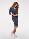 Платье облегающее с вырезом-лодочкой oodji #SECTION_NAME# (синий), 14017001-2B/37809/7912S - вид 6