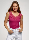 Майка хлопковая с кружевом oodji для женщины (розовый), 14315011/48684/4701N