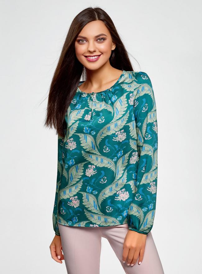 Блузка свободного кроя с вырезом-капелькой oodji #SECTION_NAME# (зеленый), 21400321-2/33116/6D33F