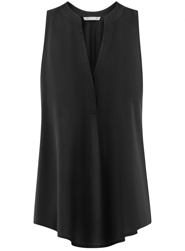 Топ базовый из вискозы oodji для женщины (черный), 14911008-1B/48756/2900N