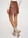 Юбка-трапеция из искусственной кожи oodji для женщины (коричневый), 18H01012-1/49353/3100N