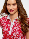 Платье-поло из ткани пике oodji #SECTION_NAME# (красный), 24001118-2/47005/4C10E - вид 4