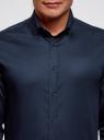 Рубашка хлопковая с контрастной отделкой oodji #SECTION_NAME# (синий), 3L110332M/48645N/7900O - вид 4