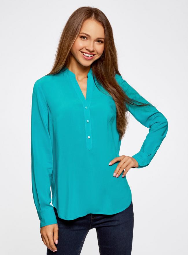 Блузка базовая из вискозы oodji для женщины (бирюзовый), 21412129-1/24681/7300N