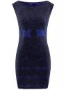 """Платье трикотажное с принтом """"кружево"""" oodji #SECTION_NAME# (синий), 14001170/37809/7529L"""