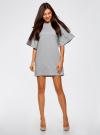 Платье прямого силуэта с воланами на рукавах oodji #SECTION_NAME# (серый), 14000172B/48033/2000M - вид 2