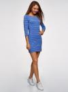 Платье трикотажное базовое oodji #SECTION_NAME# (синий), 14001071-2B/46148/7079S - вид 6