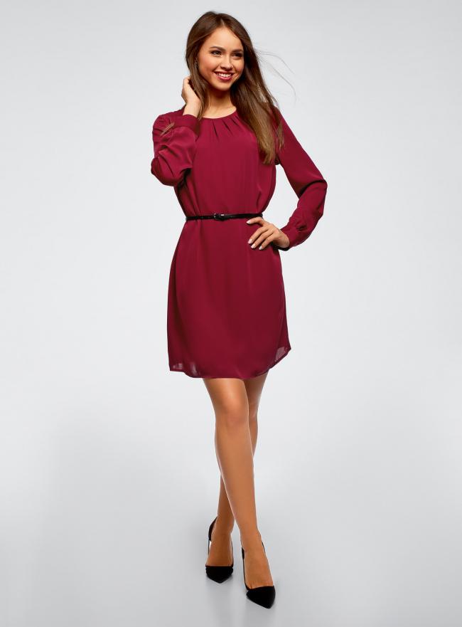 Платье из струящейся ткани с ремнем oodji для женщины (красный), 11911030/43414/4900N