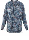 Блузка удлиненная с этническим орнаментом oodji для женщины (бирюзовый), 21405135/45192/7370E