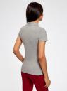 Поло из ткани пике с вышивкой oodji для женщины (серый), 19301001-8/46161/2300Z