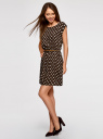 Платье принтованное из вискозы oodji #SECTION_NAME# (коричневый), 11910073-2/45470/3912D - вид 6