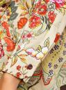 Блузка свободного силуэта с цветочным принтом oodji #SECTION_NAME# (бежевый), 21411109/46038/3319F - вид 5