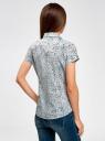 Рубашка из хлопка принтованная oodji #SECTION_NAME# (синий), 11402084-3/12836/7010F - вид 3