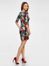 Платье трикотажное с цветочным принтом oodji #SECTION_NAME# (разноцветный), 14001121-1/16300/7919F - вид 3