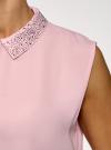 Топ из струящейся ткани с декором на воротнике oodji #SECTION_NAME# (розовый), 14911006-1/43414/4001N - вид 5