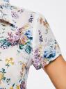 Блузка принтованная из легкой ткани oodji #SECTION_NAME# (белый), 21407022-9/12836/1019F - вид 5