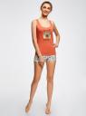 Пижама с шортами принтованная oodji #SECTION_NAME# (оранжевый), 56002187-6/47692/4329P - вид 6