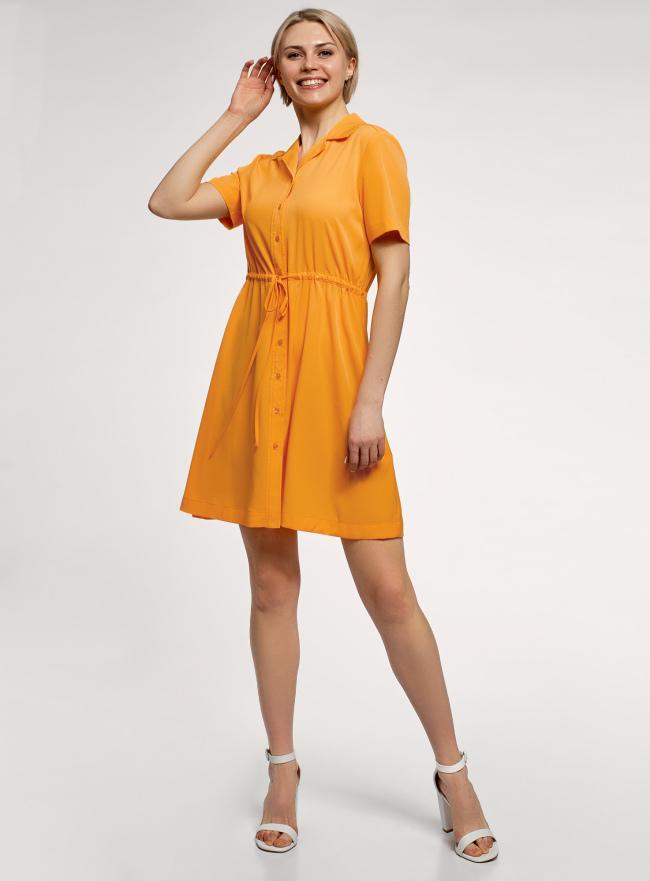 Платье-рубашка с коротким рукавом oodji для женщины (желтый), 11910093/50560/5200N