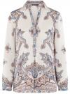Блузка из струящейся ткани с принтом oodji #SECTION_NAME# (слоновая кость), 21411144-3/35542/3039E