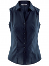 Рубашка базовая без рукавов oodji для женщины (синий), 11405063-6/45510/7900N - вид 6