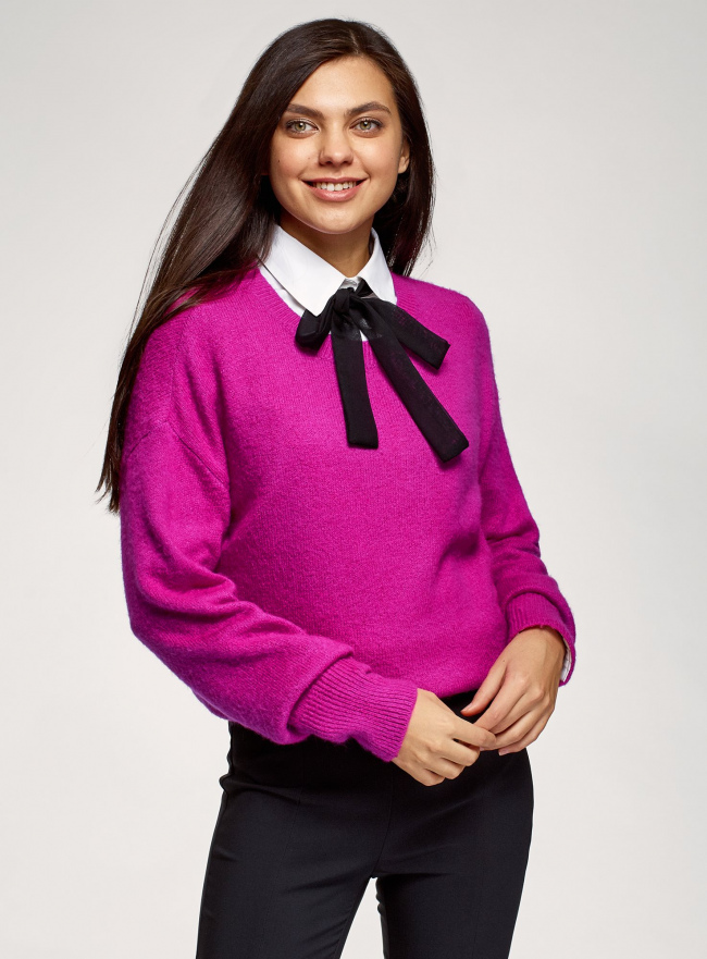 Джемпер с шерстью свободного силуэта oodji для женщины (розовый), 63807366/50290/4700N