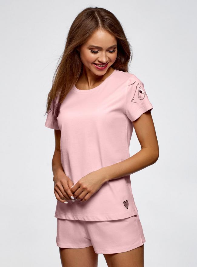 Пижама хлопковая с принтом oodji для женщины (розовый), 56002201-6/46154/4100P