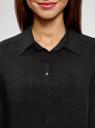 Блузка с нагрудными карманами и регулировкой длины рукава oodji для женщины (черный), 11400355-10B/42540/2900N