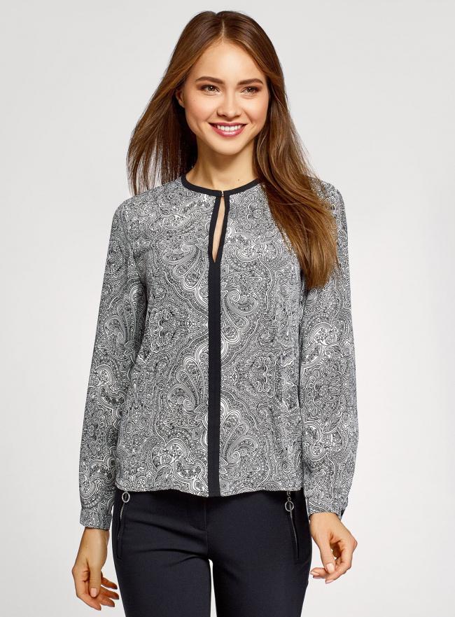Блузка из струящейся ткани с контрастной отделкой oodji #SECTION_NAME# (серый), 11411059/43414/1029E