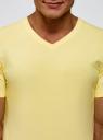 Футболка базовая с V-образным вырезом oodji #SECTION_NAME# (желтый), 5B612002M/39230N/5000Y - вид 4