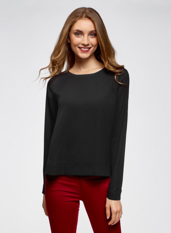 Блузка прямого силуэта на подкладке oodji для женщины (черный), 11411190/48854/2900N