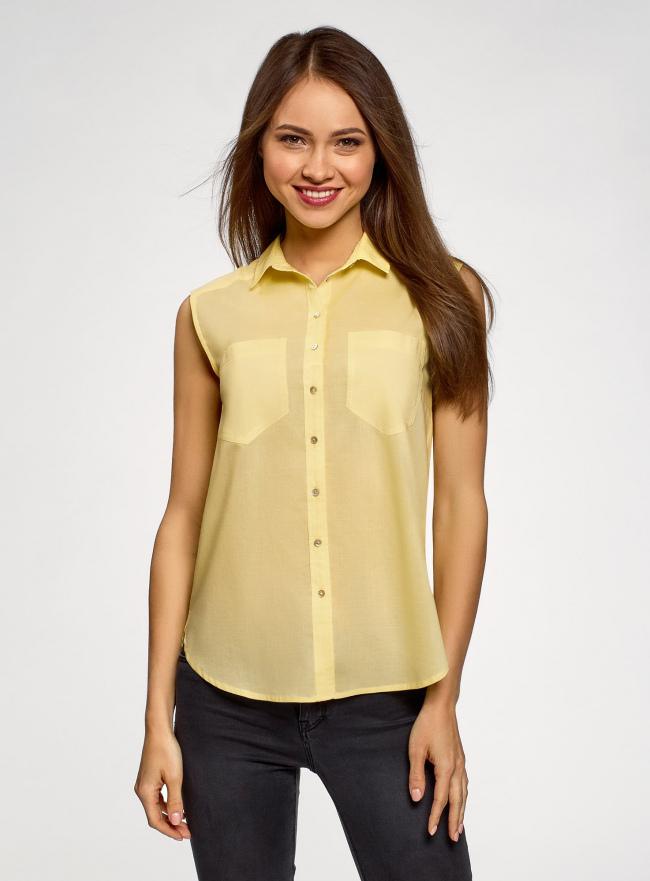 Топ хлопковый с рубашечным воротником oodji #SECTION_NAME# (желтый), 14901416-1B/12836/5000N