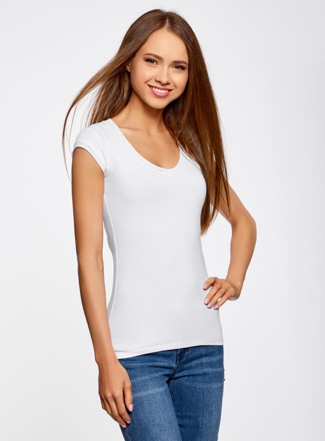 Комплект из трех базовых футболок oodji для женщины (белый), 14711002T3/46157/1000N