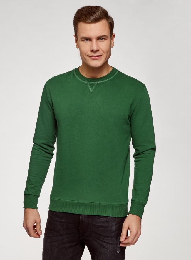 Свитшот хлопковый с круглым вырезом oodji для мужчины (зеленый), 5B123009M/48823N/6902N