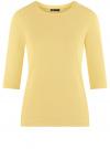 Свитшот с круглым вырезом и рукавом 3/4 oodji #SECTION_NAME# (желтый), 14801021-6/42588/5000N