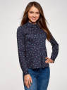 Блузка хлопковая с баской oodji #SECTION_NAME# (синий), 13K00001B/26357/7912Q - вид 2