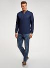 Рубашка льняная без воротника oodji для мужчины (синий), 3B320002M/21155N/7800N - вид 6