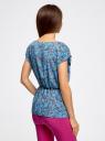 Блузка принтованная из вискозы oodji #SECTION_NAME# (синий), 11400345-2/24681/7041F - вид 3