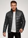 Куртка стеганая из искусственной кожи oodji #SECTION_NAME# (черный), 1L111055M/47397N/2900N - вид 2
