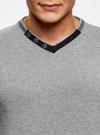 Пуловер с V-образным вырезом и декоративными пуговицами oodji #SECTION_NAME# (серый), 4L212152M-1/47210N/2379B - вид 4